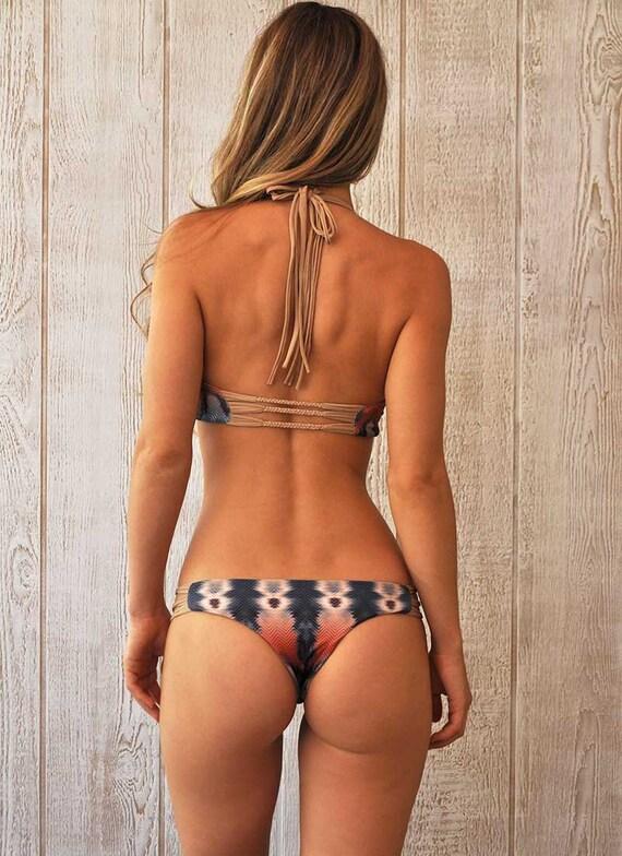 REVERSIBLE Brazilian Bikini Bottom with hand-braided details