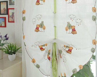 Winnie the Pooh Tie Up Curtains For Kid's Room, Baby Nursery, Kid's Play Room, Bathroom. Embroidered Winnie the Pooh, Owl, Clouds and Trees