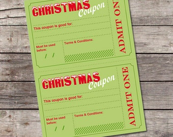 Printable Christmas Coupons / DIY Holiday Vouchers Template / Stocking Stuffer Idea for Him, Her, Kids / Printable Coupons, Instant Download