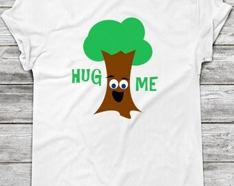 Hug Me (Treehugger) Printable Iron On T-Shirt Transfer / Cute DIY Gift Idea for Babies, Kids & Adults / Eco, Green, Tree // Instant Download