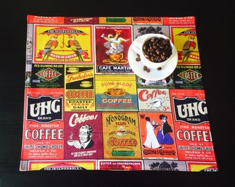 Funky,Retro Coffee fabric placemats in many different designs.Square or rectangle with four, six, eight, ten or twelve settings.Custom made.