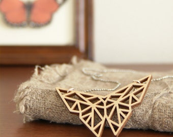 Origami butterfly necklace ~ Laser cut from birch wood ~ Geometric pendant ~ Gift boxed