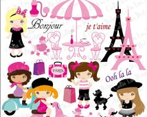 Paris clipart , French Paris Clip art , Poodle clipart, Fashion Girl (CG130) / INSTANT DOWNLOAD