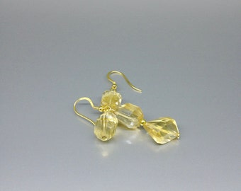 Sunny Citrine earrings with 14K gold plated Sterling silver elements - Nickel free - gift idea - long gemstone earrings -summertime -elegant
