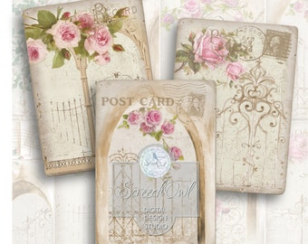 Digital Collage Sheet, ATC Cards, Vintage, Gates and Roses,  Instant Download, Printable Images, Craft Supplies