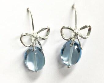 Pendientes de plata , pendientes con piedras naturales, pendientes de topacios azules, pendientes azules
