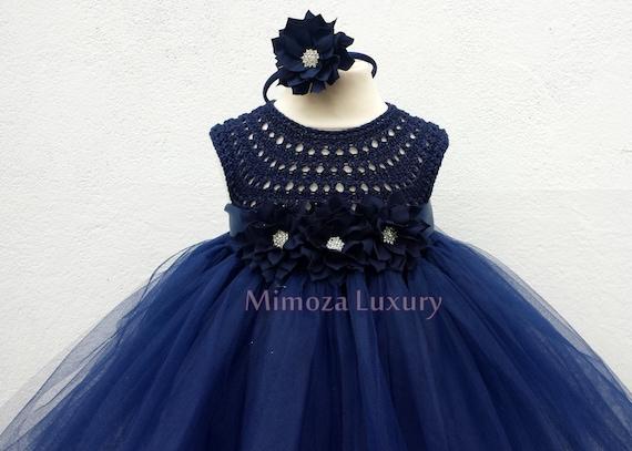 Navy Flowergirl dress, tutu dress, navy bridesmaid dress, princess dress, silk crochet top tulle dress, hand knit silk top tutu dress