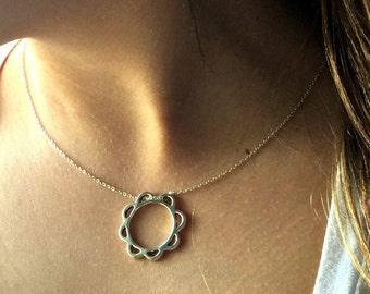 Women necklace, Flower necklace ,everyday necklace, Delicate necklace, Flower charm necklace, Simple necklace, Silver pendant necklace