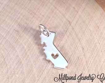 California Charm, California Heart Charm, California Stamping Blank, Sterling Silver Charm, TINY, PS0111