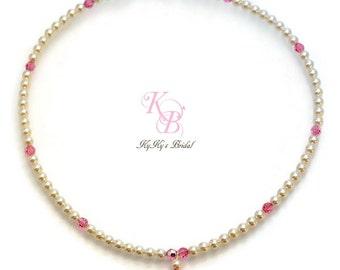 Pearl Flower Girl Necklace, Little Girl Necklace, Little Girl Jewelry, Flower Girl Gift, Flower Girl Jewelry, Pearl and Crystal Necklace