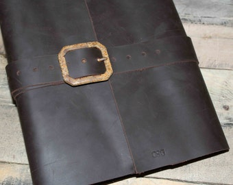 Refillable Sketch Book Cover, Leather Journal, Large Sketch Book, Sketch Pencil Pouch, Megans Mark, Buckle Sketch Journal, Paper Included