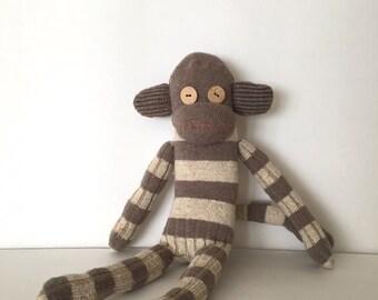 Happy Monkey Brown Stripes - Socks Monkey - Stuffed Animal