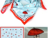 A Rainy Day, silk scarf, gift ideas, FASHION silk SCARF, Christmas gift ideas for her, christmas accessories, red SCARF, illustrated scarf