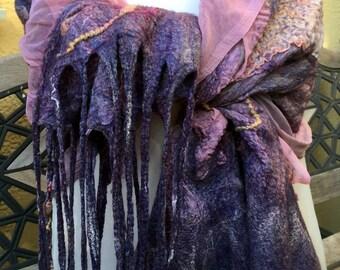 Handmade Nuno felting Scarf Felted scarf Accessories Merino wool Silk Scarf for all seasons Woman Scarf Wet Felting Cobweb Felted Scarf.