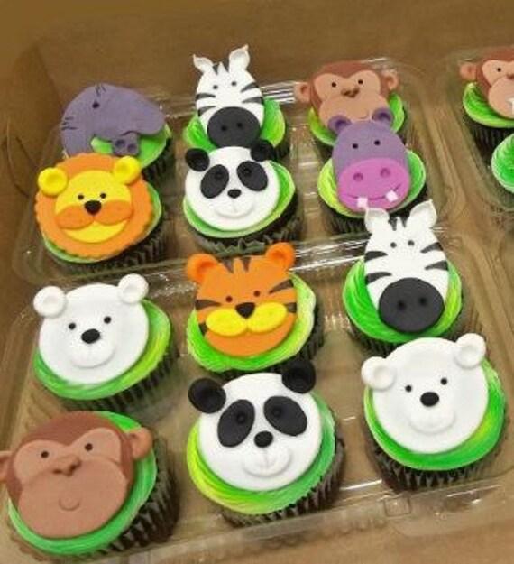 Jungle Safari Zoo Animal Fondant Cupcake Toppers 1st Birthday