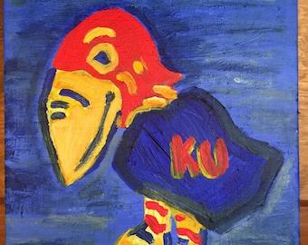 Beautiful handpainted Jayhawk on canvas - Kansas Love - Rock Chalk