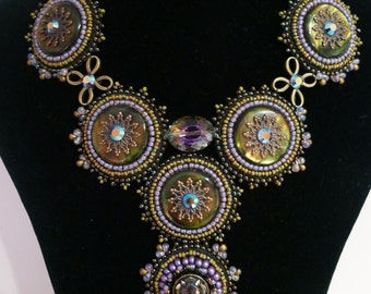 """Beadembroidered necklace """"Back in time"""""""