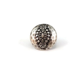 Decorative Round Hammered Metal Buttons 15mm Antique Silver Qty 3