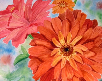 Zinnia flowers ORIGINAL watercolor,garden, FREE SHIPPING!, Mother,Daughter, for her, wall art.pink,orange,green,blue,summer,floral, decor