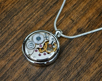 Watch Movement Necklace - 'A Moment in Time'
