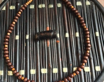 Men's Brown Wood Bead Necklace with Silver Clasp