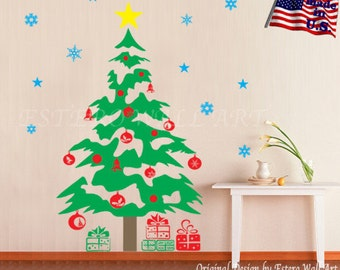 Christmas tree(large) Removable Wall Decals , Nursery wall decal, home decor, Christmas Ornaments, Christmas gift