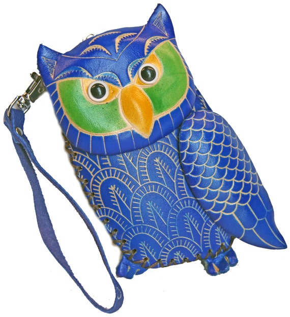 Handmade Owl Embossed Leather Journal Pocket Style Re-Fillable 7X5 Blank Pages T