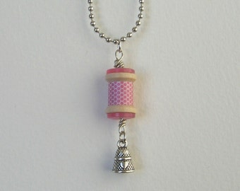 SALE  Pink Polka Dot Spool Necklace, Thimble, Heart