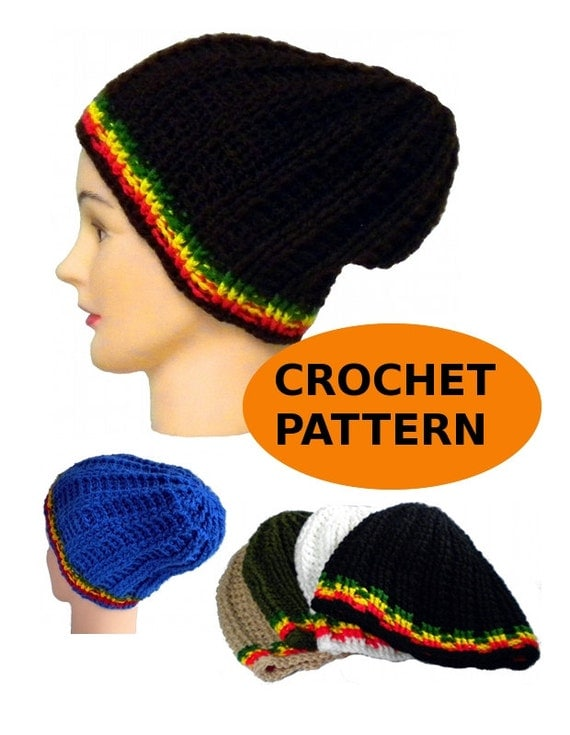 Crochet Ribbed Hat : fit ribbed hat crochet pattern, beanie with rasta stripes, ribbed ...