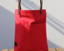 Waxed canvas Tote bag with brown leather details, red color, Phestyn