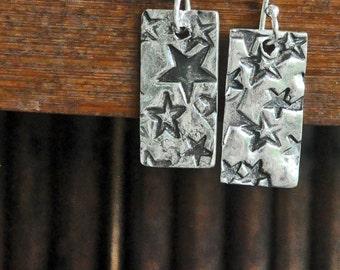 Fine Silver Dangle Earrings With Stars