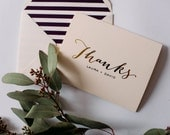 gold foil personalized thank you cards + lined envelopes (set of 10)