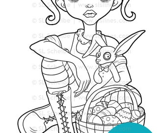 goth girl easter digistamp digital stamp gothic easter bunny and eggs coloring page lineart