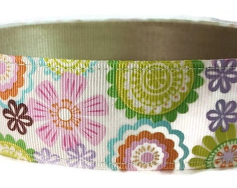 "Pastel Floral Dog Collar * 1.5"" Width Only * Buckle Collar * Martingale Collar * Chain Martingale"