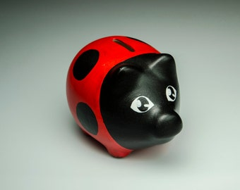 Piggy bank without a hole on the bottom - cute lady bug, hand painted