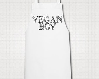 Vegan Boy Chef Cook Kitchen Vintage Animal Letters Illustration Ethically Produced High Quality Cooking Apron. White.