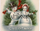 Vintage Christmas Snowmen Couple Image