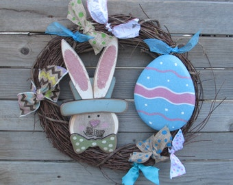 "18"" Spring Wreath Easter Wreath Easter Bunny Wreath Easter Egg Wreath Spring Grapevine Wreath Chevron Wreath Spring Decor Easter Decor"