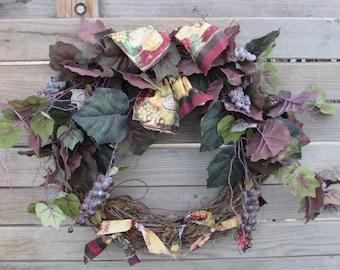 "23"" Grapevine Wreath Grape Wreath Wine Wreath Grape Decor Wine Decor Wine Country Wreath Grape Leaf Wreath Wine Fabric Wreath Merlot Wreath"