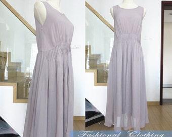 purplish grey long dress summer chiffon maxi dress women clothing women dress conciseness sleeveless chiffon dress