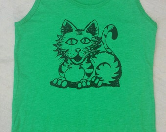 Cartoon Kitty Tank Size Small Heather Kelly Green Hand Printed Original Artwork
