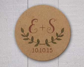 Rustic Wedding Stickers, Rustic Wedding Seals, Wedding Stickers, Leaf Wedding Stickers (#105-D-KR)