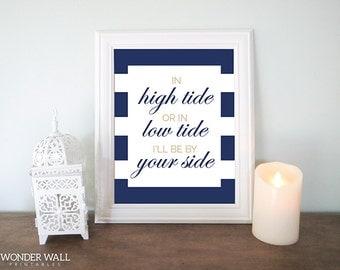 Coastal Decor In High Tide or Low Tide Sand and Navy Blue Nursery Wall Art 8x10 PRINTABLE