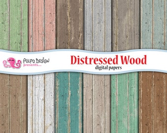 Distressed wood digital paper. Commercial/ personal use. Instant download. Rustic, texture, wood grain, wood background in teal, brown, grey