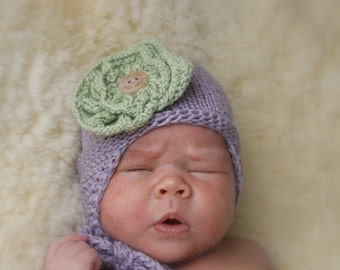 KNITTING PATTERN earflap hat with flower Taylor (preemie / newborn / baby / toddler / child sizes)