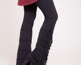 Black leggings, funky tights, womens pants, fringe leggings, cool leggings, native american clothing   Sizes : XS / S / M / L / Xl