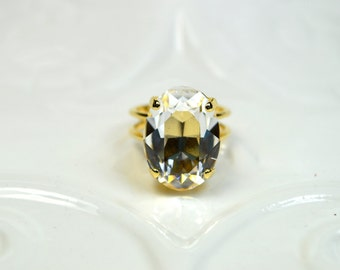 Swarovski Crystal Ring - 14k Gold Plated
