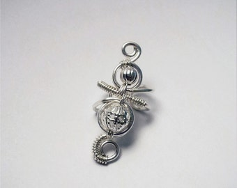 Silver Ear Cuff Filigree Ear Wrap