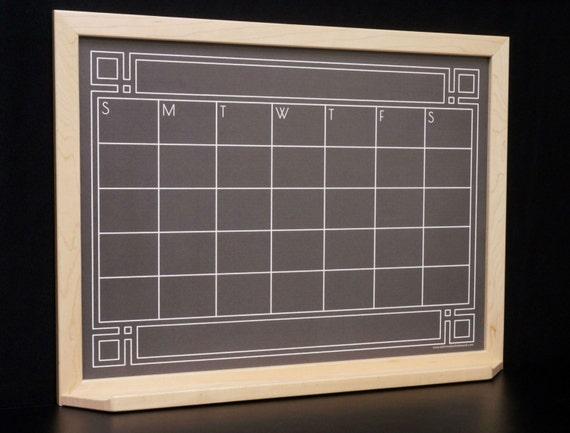 Black Art Deco Chalkboard Calendar Dry Erase Board
