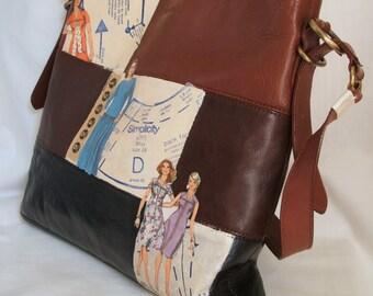 Brown leather handbag - retro upcycled bag - 70s bag -  large leather tote - embellished preloved handbag - 70s style bag - retro tote